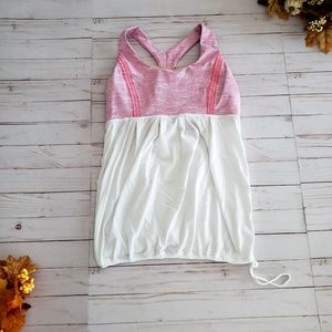 Lululemon White and Pink Power Dance Tank Size 10